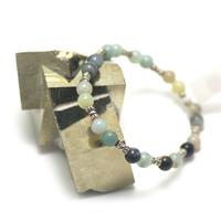 "bracelet amazonite brut , ""perle ronde 6 mm - perle argentée"""