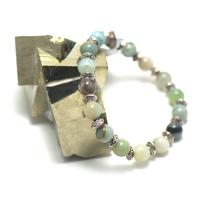 "bracelet amazonite brut , "" perle ronde 8 mm - perle argentée"""