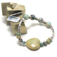 """bracelet amazonite brut , création """" double courbes - coeur """""""