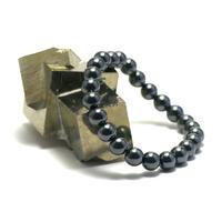 "bracelet hématite , "" perle ronde 8 mm """