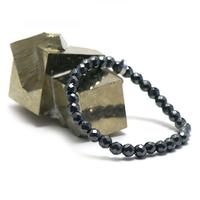 """bracelet hématite , """" perle ronde facettée 6 mm """""""