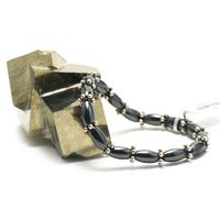 "bracelet hématite , ""perle olive - perle argentée"""