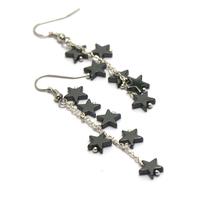 """boucle d'oreille hématite , création """" chaînes - mini étoile"""""""