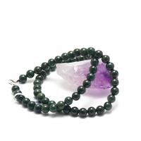 """collier jade , """" perle ronde 7 mm, vert foncé"""""""