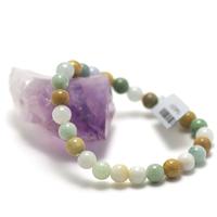 "bracelet jade , ""perle ronde 7,5mm , multicouleur"""