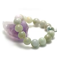 """bracelet jade , """" perle ronde 13 mm , vert très clair"""""""