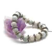 "bracelet jade , ""perle ronde 10 mm-perle ronde argentée"""