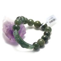 """bracelet jade , création """" perle courbée - ronde 12 mm """""""