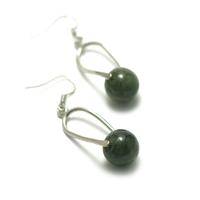 """boucle d'oreille jade , """" cage-perle ronde 12 mm , vert foncé"""