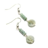"""boucle d'oreille jade , """" perle tube motif - palet rond motif"""""""