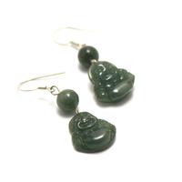 "boucle d'oreille jade , "" bouddha - ronde 7 mm """