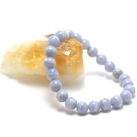 """Bracelet calcédoine bleue , """" perle ronde 8 mm, veinées """""""