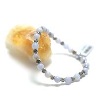 """bracelet calcédoine bleue , """" perle ronde 6 mm , perle argentée"""""""