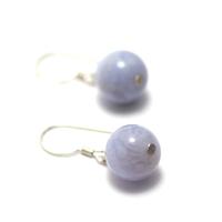 """boucle d'oreille calcédoine bleue , """" perle ronde 10 mm """""""
