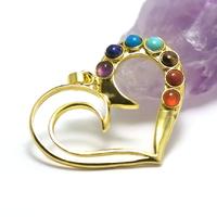 "pendentif 7 chakras ""coeur"", doré"