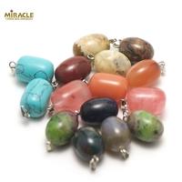 """Lot de 10 pendentifs """"perle"""", assortiment de pierre"""