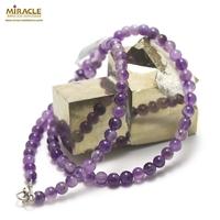 collier améthyste en perle ronde 6 mm