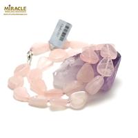 "collier quartz rose "" triangle baroque"",001"