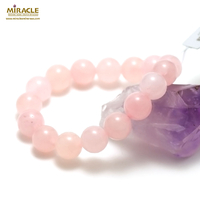 "bracelet quarte rose ""perle ronde 12 mm "", pierre naturelle"