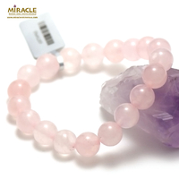 "bracelet quartz rose ""perle ronde 10 mm "",pierre naturelle"