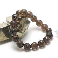 """bracelet quartz fumé """"perle ronde facettée 12 mm"""""""