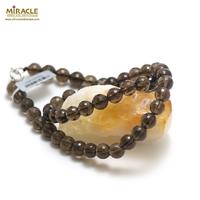 """collier quartz fumé """"perle ronde facettée de 8 mm """""""