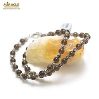"""collier quartz fumé """"perle ronde 6 mm/perle argenté"""""""
