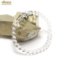 """bracelet cristal de roche ( quartz ) , """"perle ronde 6 mm"""""""