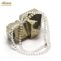 "Collier cristal de roche , "" perle ronde 4 mm"""
