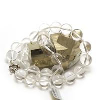 """collier quartz , """" perle ronde 14 mm """""""