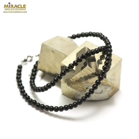 "collier onyx "" ronde 4 mm"", pierre naturelle"