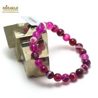 "bracelet agate teinté ""fuchsia 8 mm"""