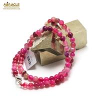 """collier agate teinté fuchsia """" ronde 6 mm"""""""