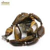 """Collier oeil de tigre """" palet baroque - perle ronde 6 mm"""""""