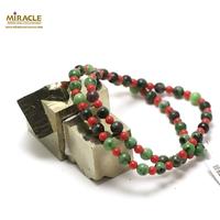 """collier zoïsite """"perle ronde 6 mm"""" et corail ,002"""