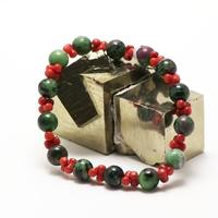 "bracelet zoïsite/corail ""ronde 8 mm"",002"