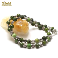 "collier chrysoprase ""ronde 8 mm - perle argentée"""