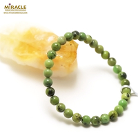 "bracelet chrysoprase "" ronde 6 mm"", pierre naturelle"