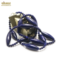 "collier long lapis lazuli ""grand olive/perle ronde 4 mm"", pierre naturelle"