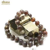 "collier agate de Botswana ""perle ronde 10 mm"""