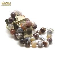 "collier agate de Botswana "" perle ronde 12 mm """