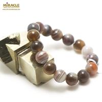 """bracelet agate de Botswana """"perle ronde 12 mm"""""""