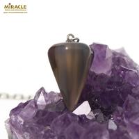 pendule cône facettée en pierre naturelle d'agate