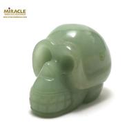 """statuette minéraux """"crâne skull"""" en pierre naturelle d'aventurine"""