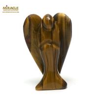 """statuette minéraux """"Ange"""" en pierre naturelle de l'oeil du tigre"""
