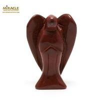 """statuette minéraux """"Ange"""" en pierre naturelle de jaspe rouge"""