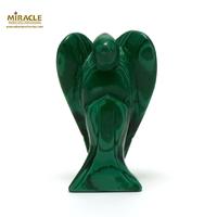 """statuette minéraux """"Ange"""" en pierre naturelle de malachite"""