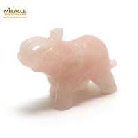 """statuette minéraux """" éléphant"""", en pierre naturelle de quartz rose"""