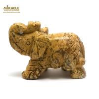 """statuette minéraux """"éléphant"""", en pierre naturelle de jaspe paysage"""