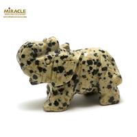 """statuette minéraux """"éléphant"""", en pierre naturelle de jaspe dalmatien"""